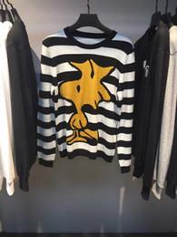 Wholesale Sweater Birds - 2016 New Autumn Fashion Brand Casual Sweater cotton Snoopy bird Cartoon stripes Mens women Sweaters Pullover