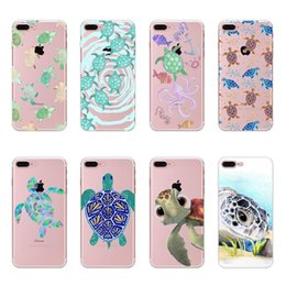 Wholesale Turtle Phone Case - Creative Sea Turtle Mobile Phone Case Color Painted Soft TPU Protective Shell Cases Back Cover For iPhone 5s 6s Plus 7 Plus iPhone 8 021
