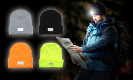 Wholesale Dome Camping - 5 LED Beanies Headlamp Winter Hands Free Unisex Lighted Camping Hat Power Stocking Cap Hat 10pcs lot Free Shipping