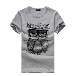 Wholesale Cheap Wholesale Men S Clothing - Wholesale-Cheap Hot Sale Fashion Men Owl Tees Printed Summer Short Sleeve T Shirt Cotton Mens Casual Basic Tee Shirts Clothes Plus Size