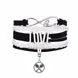 Wholesale Charms Gymnast - Infinity Love Badminton Racket Charm Wrap Bracelet Gift for Gymnast Wax Cords Braided Leather Adjustable Bracelet Bangles-Drop Shipping