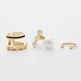 Wholesale Open Top Finger Rings - 5Sets Lot Wholesale Top Of Finger Over The Midi Tip Finger Rings 3pcs Set Fashion Women Jewelry Gold Crystal Cute Knuckle Open Rings