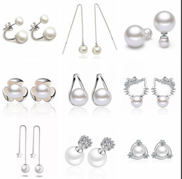 Wholesale Cheap Wholesale Animal Charms - Cheap 925 sterling silver pearl dangle earrings jewelry for women High quality big pearl charm rhinestone pearl ball earrings jewelry
