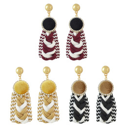 Wholesale flag suede - 3 Colors Women Fashion Knitting Suede Rhinestone Gold Plated Stud Earrings