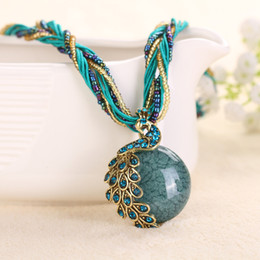 Wholesale Vintage Green Bead Necklace - New Fashion Necklace & Pendant Vintage Resin beads Bohemian ethnic style choker Necklace Statement Jewelry for women