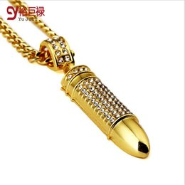 "Wholesale Mens 24k Solid Gold Necklace - 2016 new Mens Stainless Steel 24k Solid Gold Filled Military Style War Bullet Pendant 30"" Long Cuban Curb Chain Hiphop Couple Necklaces"