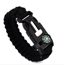 Wholesale Emergency Compass - Multifunction Outdoor Camping Survival Bracelet with Compass Fire Starter Flint Whistle Scraper for emergency usage survival bracelets