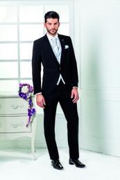 Wholesale Italian Suit 46 - 2017 Newest Slim fit Italian Wedding suits mens suits Jacket+Pants+Tie+vest Groom Tuxedos best men suits Groomsmen suits