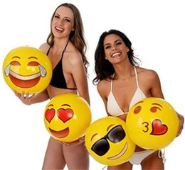Wholesale Big Yellow Balloon - Emoji Inflatable Beach Ball Outdoor Fun Sport Toy Ball 12 Inches Water Balloons Balls For Kids and Adult Sand Play Tool