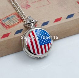 Wholesale American Pocket Watch - 100pcs lot Wholesale New enamel American flag Pocket Watch Necklace vintage jewelry wholesale Korean Sweater chain