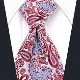 Homme en tenue normale en Ligne-U17 Blanc Motif Paisley Mens Cravates En Soie De Mariage À La Main De Mode Classique Marque Nouvelle Robe Accessoires Pour Hommes Cravate