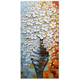 Vasos de pinturas a óleo on-line-Grande Elegante Branco Vaso 3D Pinturas A Óleo Sobre Tela Fotos de Decoração Para Casa Arte Da Parede Madeiras Emolduradas Esticada Arte