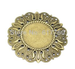 Wholesale Filigree Cabochon Settings - Free shipping-30pcs Antique Bronze Filigree Cabochon Setting Wraps Connectors DIY Connectors Embellishments Findings 49mm Dia.