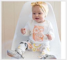 Wholesale Owl Shirts Girls - 2016 New Children Clothing Sets Kids Cartoon Owl T-shirt Tops+Geometric Patterns Pants 2pcs Set Baby Boys Girls Casual Outfits Babies Suits