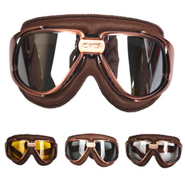 Wholesale Leather Motorcycle Goggles - Genuine Leather goggles for vintage motorcycle helmet harley retro scooter helmet eyewear protective gear windproof goggles mask