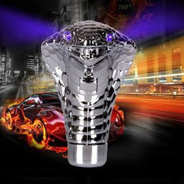 Wholesale Snake Gear Knob - Chrome LED Car Manual Gear Shift Knob Snake Shifter Universal Red Blue LED Eyes MT Auto Gear Lever Stick