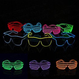 Wholesale Light Up Glasses Wholesale - El Wire Neon LED Light Up Shutter Party Glasses Lighting Classic Bright Light Festival Glasses OOA3787