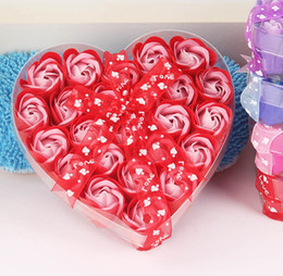 Wholesale Flower Boxes For Shipping - Free shipping High quality mix colors heart-shaped rose Soap flower(24pcs box.5boxes lot) for romantic bath  Wedding Gift Party Display