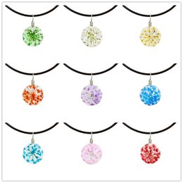 Wholesale Real White Gold Pendant - Wholesales 16mm Glass Ball Dried Flowers Necklaces Jewelry Leather Chains Handmade Real Dry Flower Mixe 9 Colors Flower Herbarium Jewelry