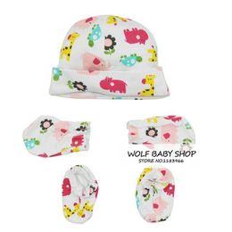 Wholesale Hat Gloves Mittens - 25pcs lot 5sets lot good quailty 5 pcs set for baby socks +gloves armguard mittens gloves+hat set baby new born 0-10M