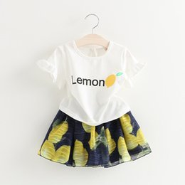 Wholesale Wholesale Fresh Lemons - 2016 New Style Fresh Girls 2pcs Suits girl lemon printed tops +printed skirts Suits Girls outfits Sets Infant Cotton Suit babies clothes