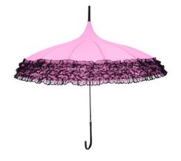 Wholesale Umbrella Lace - Lace Pagoda Umbrella Stripes Long Handle Multi Function Sunscreen Anti Rain Straight Rod Weather Umbrellas Colorful 25hh H R