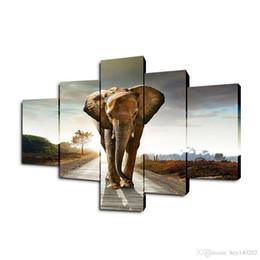 Canada YIJIAHE DW5 Art de peinture sur toile 5 images d'art de mur d'éléphant imprimer sur la toile deviennent des peintures pour décorer votre maison ect. !! Offre
