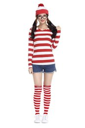 Wholesale Mens Fancy Dress Costumes - Where's Wally Waldo TV Cartoon Stag Night Outfit Adult Mens Fancy Dress Costumes halloween costume for women cosplay