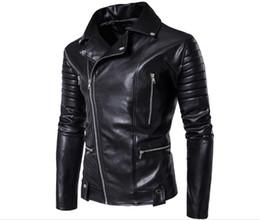 Wholesale Leather Jacket Men Wholesale - 2017 New Spring Autumn Wholesale- Fashion clothing PU Leather Jackets Classic Style Motorcycling slim baseball Jackets Free shipping B562
