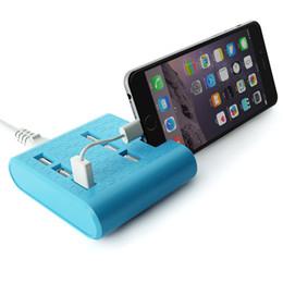cargador sony multi Rebajas Estación de carga de los puertos USB de alta velocidad al por mayor 6 con el soporte del dispositivo, adaptador de corriente del enchufe de la CA Soporte de carga móvil multi 6 del cargador del USB