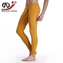 Wholesale Men Underwear Long Johns - Men Thermal Underwear Low Waist Fleece WJ Masulina Sport Warm Sleepwear Health Comfy Tight Trousers Thermal Cotton Long Johns