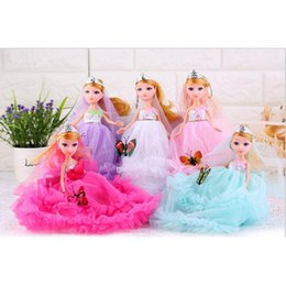Wholesale Bridal Gowns For Kids - 5pcs lot Handmade Wedding Party Dress Bridal Veil Gown Beads Decoration Lace Clothes For Barbie Doll kids Gorgeous Gift