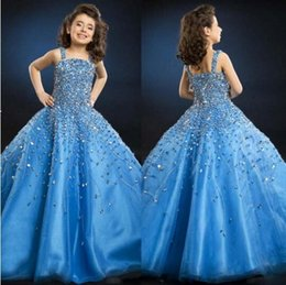 Wholesale Beautiful Luxury Crystal Little Girl Flower Girl Formal Pageant Dresses Blue Spaghetti Floor length Backless Little Kids Ball Gow