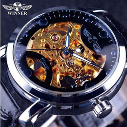 Wholesale Mechanical Skeleton Watch Movement - Winner Golden Movement Blue Ocean Design Transparent Mens Watch Top Brand Luxury Male Wrist Watch Skeleton Automatic Watch Clock