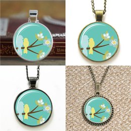 Wholesale christmas day ideas - 10pcs Mothers Day ift Idea ifts For Mom Birds On A Branch Art Pendant Necklace keyring bookmark cufflink earring bracelet