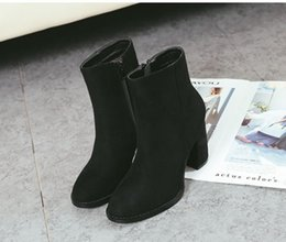 Wholesale Thick Naked Women - 2017 new women boots high heel Genuine Leather ankle boots sexy naked boots size 35-39 fashion square toe thick heel