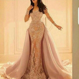 Wholesale Full Size Evening Gowns - 2016 Full Lace Long Sleeves Evening Dresses Scoop Detachable Tulle Court Train Mermaid Prom Party Gowns Elegant