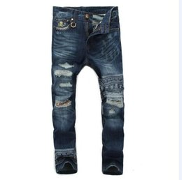 Wholesale Skull Jeans Men - Wholesale- free shipping The new high-end custom embroidered skull mastermind japan MMJ Patchwork tide brand men's jeans