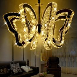 Wholesale Butterfly Restaurant - luxury K9 butterfly LED ceiling light modern crystal Pendant lamp For living room lights bedroom restaurant lamp Indoor chandeliers G4 Bulbs