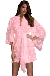 Wholesale Transparent White Dress Lingerie - White Black Pink Sheer Transparent Lace Kimono Dressing Gown Babydoll Sleepwear Robe Night Gown Plus Size Sexy Lingerie Pajamas Nightgowns