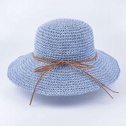 Wholesale Uv Sun Cream - Wholesale- 2017 summer Solid Floppy Raffia Wide Brim sun hat for women girls Handmade crochet Straw hats Foldable beach Panama Hat anti UV