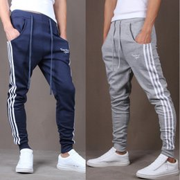 Wholesale Fitted Running Pants - Wholesale- Mens light Pants Bodyboulding Hip Hop Clothing Street Patchwork Trousers Fitness Jogger Sweatpants Casual Slim Fit Pants D