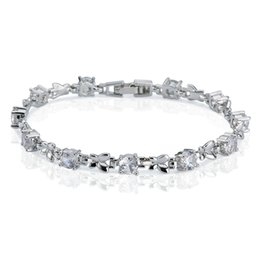 Wholesale Clear Crystal Claw Setting - christmas gift Pure 18k White Gold Plated Butterfly Knot Tennis Bracelet Prong Setting Clear Round Crystal Women's CZ Bracelet Free Shipping