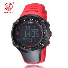 Wholesale OHSEN marque nouvelle numérique LED mode montre bracelet mens cadeaux pour hommes bracelet en caoutchouc rouge mode numérique sports de plein air montres militaires