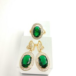 Wholesale Beautiful Emerald - fashion beautiful female sky Emerald new jewelry set 925 Silver Earrings Ring Size 7 8 9 free jewelry box B