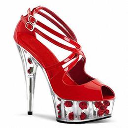 Wholesale Platform Heels 5cm - Customize Summer Extreme High Heel 15cm Patent Leather 5cm Platform Sexy Fetish High Heel Buckle Strap Lady Sandals D0193