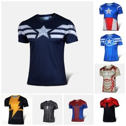 Wholesale America Fitness - NEW 2016 Marvel Captain America 2 Super Hero lycra compression tights sport T shirt Men fitness clothing short sleeves S-XXXXL