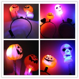 Wholesale Cartoon Head Costume - Halloween Costumes Luminous Pumpkin Head Band Halloween Decorations Bows For Men Women Festival Party Cosplay Accessories Free Shipping Hot