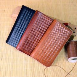 Wholesale Handmade Cowhide Purses - KISSUN-SZB-007 Pure Handmade Veg Tanned Leather Woven Clutch Wallet Credit Card Purse Clutch Handbag OEM Welcome