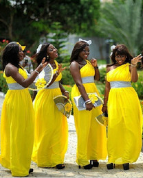 Wholesale Buy Sash - 2016 Cheap Yellow Bridesmaid Dresses One Shoulder Bridesmaid Dress Chiffon Vestidos De Festa Dress Longo Buy From China 2016